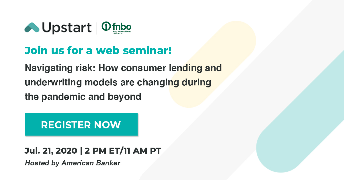 test Twitter Media - Upstart is partnering with @fnbo for a web seminar, hosted by @AmerBanker, about navigating risk in consumer lending and how underwriting models perform during the pandemic and beyond.  Register here ➡️   https://t.co/aa8AthInYp https://t.co/GR4pd4Ji5N
