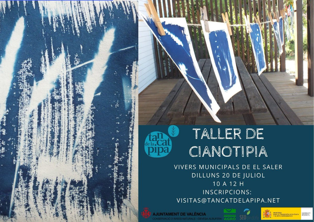 El @tancatdelapipa programa un taller de Cianotipia, una tècnica artesanal d'impressió de negatius sobre un paper impregnat en una emulsió fotosensible, que en exposar-la al sol canvia de color. 20 de juliol. A partir de 6 anys. Inscripcions: visitas@tancatdelapipa.net pic.twitter.com/vw4gwhla3i