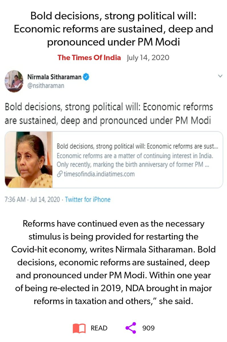 Bold decisions, strong political will: Economic reforms are sustained, deep and pronounced under PM Modi https://timesofindia.indiatimes.com/blogs/toi-edit-page/bold-decisions-strong-political-will-economic-reforms-are-sustained-deep-and-pronounced-under-pm-modi/ …  via NaMo App pic.twitter.com/3kPVcVMvf7
