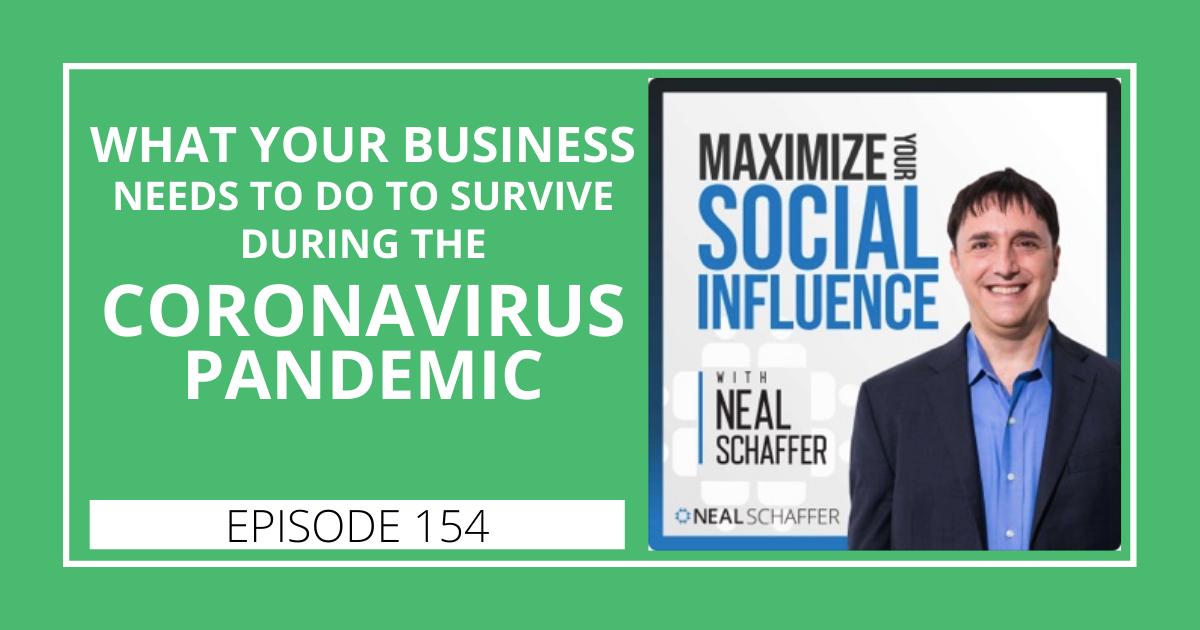 So many have asked what our businesses should do in the midst of the current pandemic. Here's my perspective, and you should listen to a lot of different perspectives to navigate the best path forward. It is this same concept that I bring up as advice. https://nealschaffer.com/maximize-your-social-influence-podcast/#154…pic.twitter.com/yNAOPBdwBK