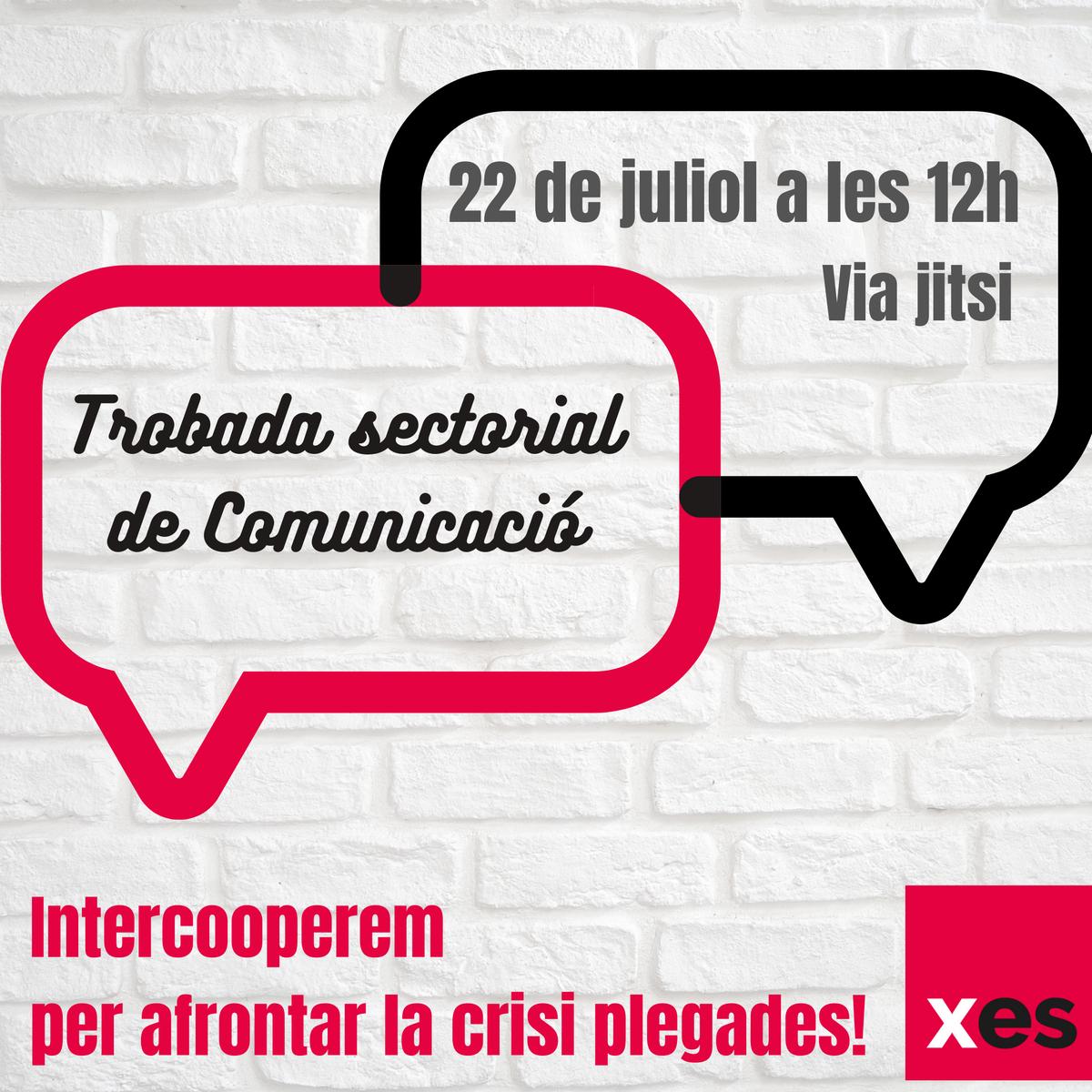 Celebrem la 1a trobada d'#Intercooperació entre sòcies, centrada en el sector de la #Comunicació!   ✏ Us hi podeu inscriure escrivint a intercooperacio@xes.cat  ⏰Us esperem virtualment el 22 de juliol a les 12h!  #PandèmiaSolidària #PlaAccióEESS  https://t.co/5UqTcsG99w https://t.co/kj9pIOxuqg