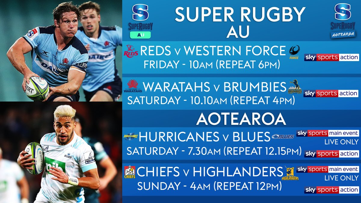 test Twitter Media - 4⃣ games from the Southern Hemisphere live on Sky Sports this weekend 🏉  #SuperRugbyAU #SuperRugbyAotearoa   📺 Broadcast Details 👇 https://t.co/oWnnJeTbbj