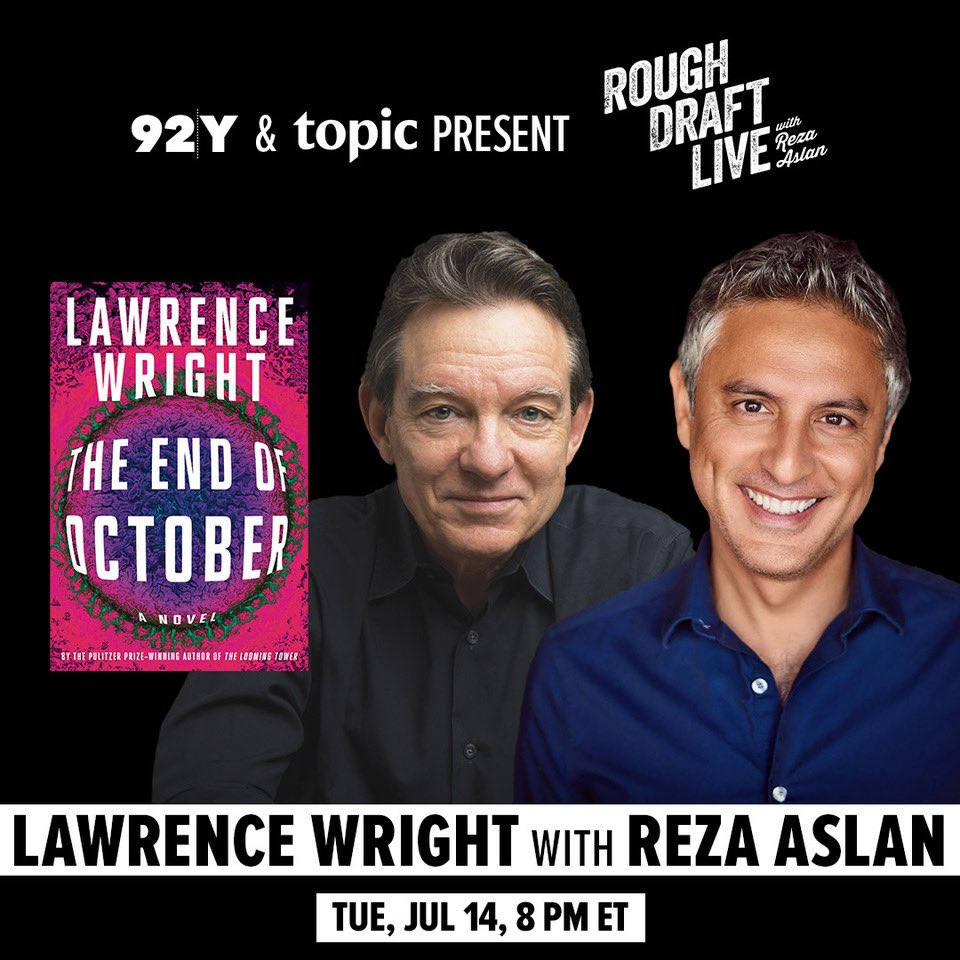 """TONIGHT @lawrence_wright wrote a novel about a global pandemic that 1)gets dismissed as """"just a flu"""" 2)is made worse by an incompetent POTUS & 3)leads to hate crimes against ppl from whence it came. Tune in and maybe he will read your horoscope.  Register>"""