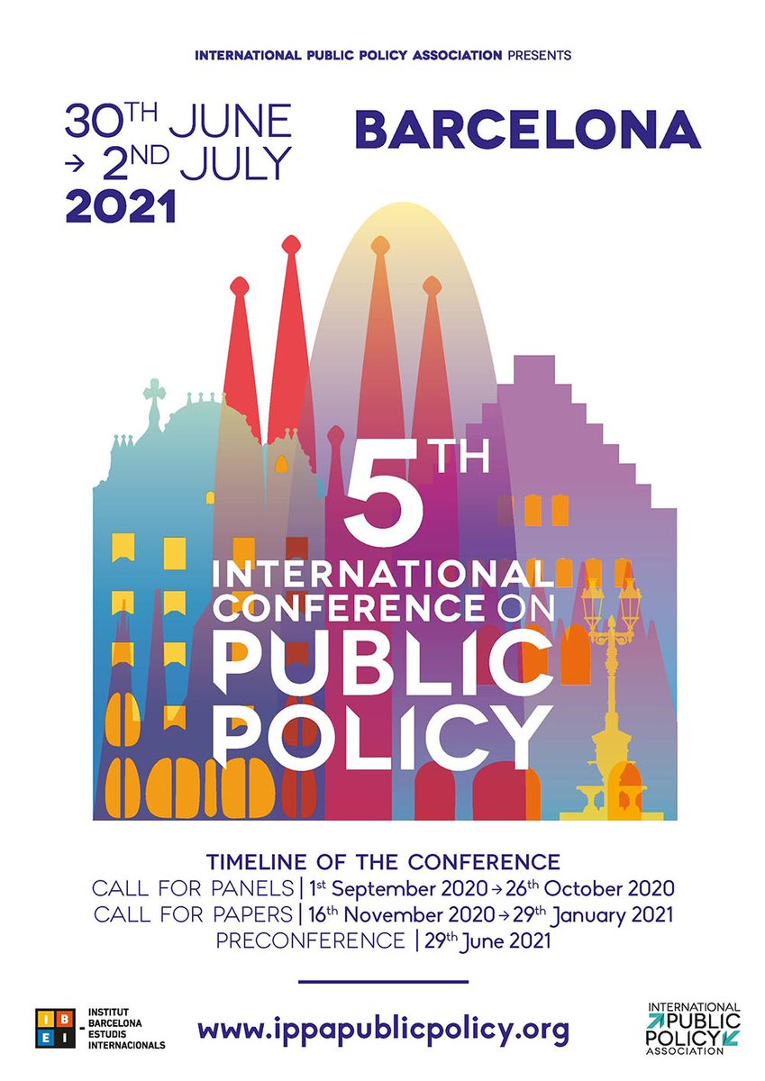 The 5th International Conference on #PublicPolicy #ICPP5 comes to Barcelona in 2021! Jointly organized by the International Public Policy Association @_IPPA_ & IBEI from June 30 to July 2: https://t.co/796STKzNvR  In collaboration with @UniBarcelona @UPFBarcelona @UABBarcelona. https://t.co/SyeKO1C16A