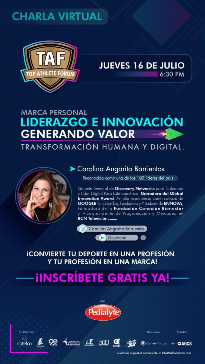 """Les comparto una nueva invitacion para capacitarse en Marca Personal """"Liderazgo e  innovación, generando valor """" con una súper invitada   @caroabu  Inscripciones en  http://www.tafcolombia.compic.twitter.com/uCggd824Rj"""