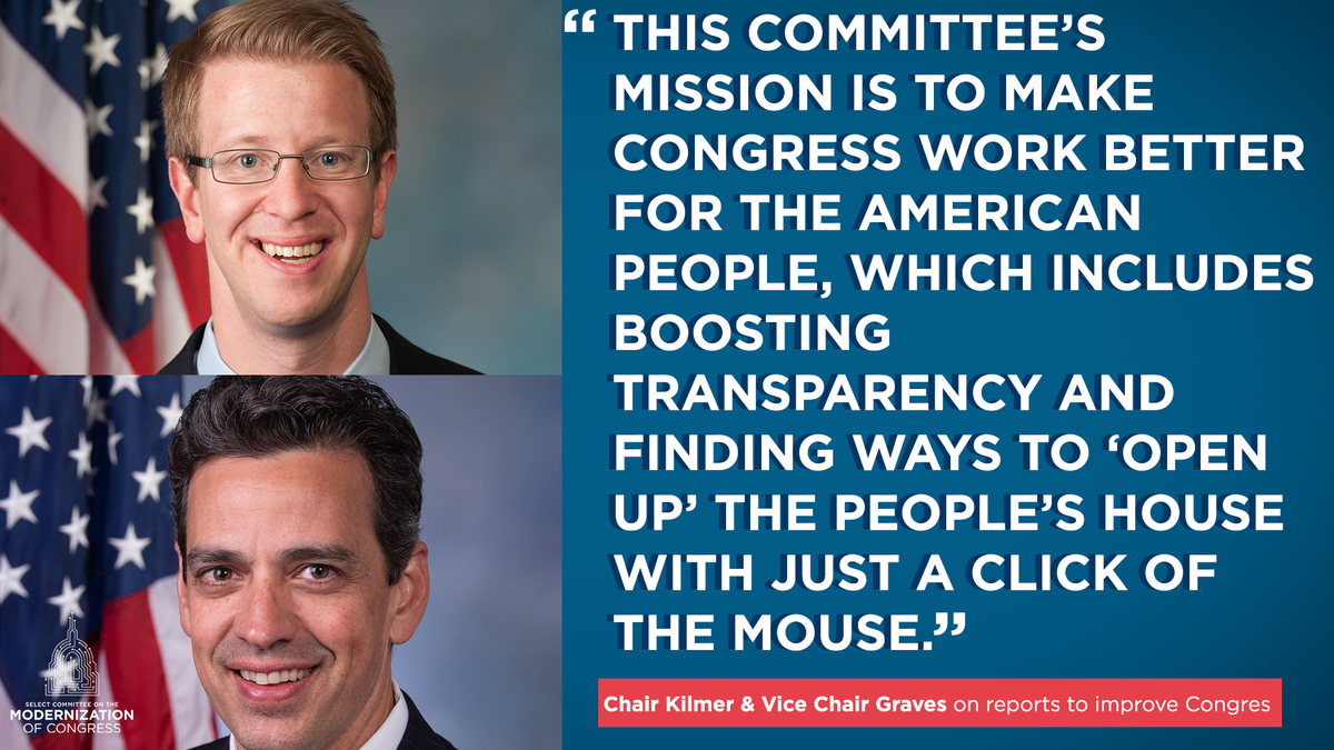 """Chair @RepDerekKilmer & Vice Chair @RepTomGraves on reports to improve Congress:  """"This committee's mission is to make Congress work better for the American people, which includes boosting transparency and finding ways to 'Open Up' the People's House w just a click of the mouse."""" https://twitter.com/ModernizeCmte/status/1283077207284502529…pic.twitter.com/5ga8sNJghm"""