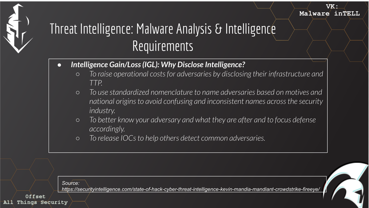 2020-07-14: 🔥[Intel Tradecraft | #Zero2Auto ] Intelligence Gain vs Intel Loss📚 Attribution should be left to the LEA agencies. It makes sense *only* after deconfliction & transparency with the agency weighing the intel gain and intel loss. Learn at #Zero2Auto | cc @0verfl0w_ twitter.com/VK_Intel/statu…