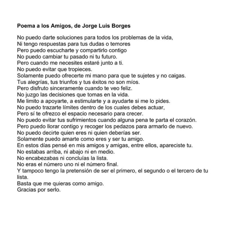 Para mis amigos: los que fueron, los que son y los que serán.   Del maestro #Borges https://t.co/ap05oRJxzt