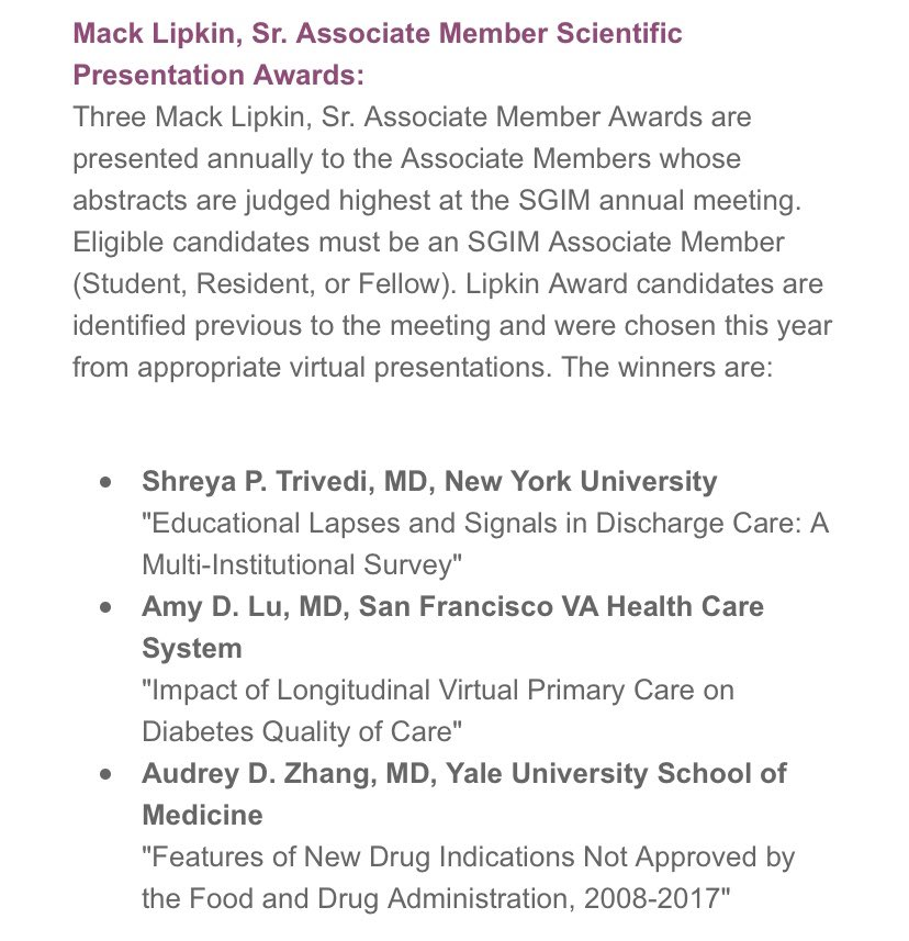 Thrilled to be recognized alongside other #WomenInMedicine rockstars @ShreyaTrivediMD @AudreyDZhang for the Lipkin Award at #SGIM20! Couldn't have done it without support from @qualityscholar @VA_VACE @mho_md @WrayCharles @TimAndersonMD @wbsmithii @UCSFGeriatrics @SFVAMC