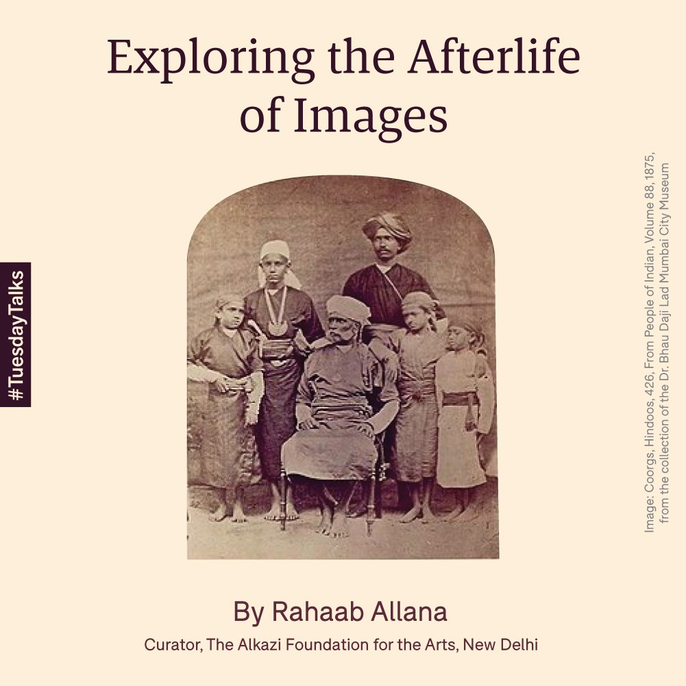 #TuesdayTalks: 'Exploring the Afterlife of Images' by Rahaab Allana, Curator at the @AlkziFoundation. The talk examines #photography as a tool of refracting into the past for artists, photographers & curators. Wear  for audio clarity. #BDLMuseum https://bit.ly/3h0skhK pic.twitter.com/YTMUdtAcDN