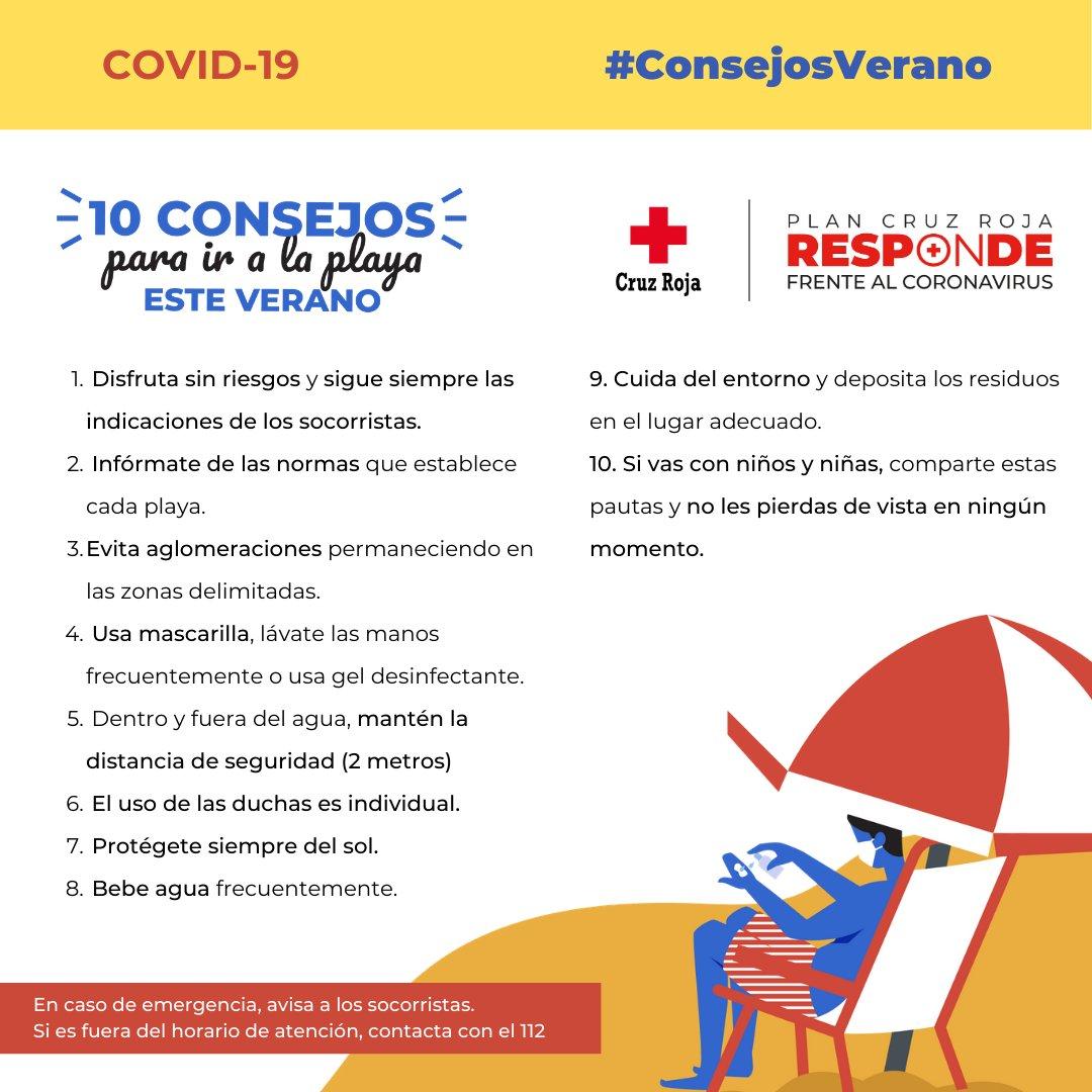 ¡Uf¡, que calor y la playa espectacular. Disfruta de un verano seguro, sigue estos 10 consejos y protégete frente al #COVID19 #CruzRojaResponde #ConsejosVeranopic.twitter.com/eDUd5XSaod