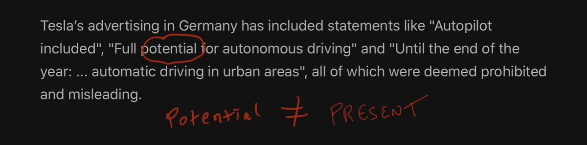 """commonly used word throughout recent history lawsuit about stifling competition by distractions instead of outsmarting @tesla  (see next tweet for the current form of tesla's autopilot, it's """"one of the greatest automotive inventions ever developed"""")  https://www.forbes.com/sites/michaeltaylor/2020/07/14/german-court-bans-tesla-autopilot-name-for-misleading-customers/#1b18c7ac7fbf…pic.twitter.com/2rL1uxzuwd"""