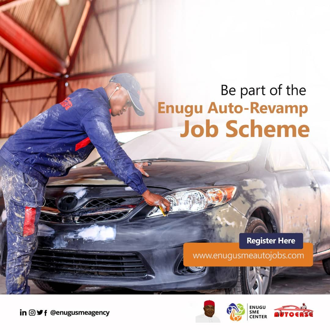 The Enugu state government through ENUGU STATE SME Agency in partnership with AutoEase have crafted  Enugu Auto-revamp Innovative Programme for ndi Enugu in the Automotive  industry under the Human Capital Development Loan Programme.   Apply here: http://www.enugusmeautojobs.compic.twitter.com/iWlpQLf667