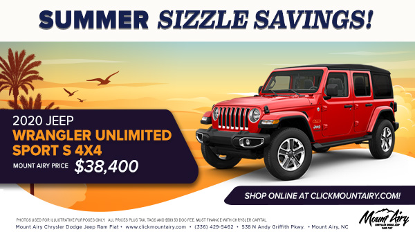 Drive home in the rugged Jeep Wrangler today! Call or stop by Mount Airy Chrysler Dodge Jeep Ram Fiat! https://www.clickmountairy.com/  #mountairy #jeep #wrangler #suv #newsuv #summersizzle #summersizzlesavings #summersavingspic.twitter.com/khCsNd0QgC