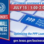 #SmallBusiness Webinar: Optimizing the PPP Loan: Part II happening tomorrow, July 15th at 1 PM. Participation in the Webinar is FREE. Learn more and register here https://t.co/nxwn4PA9uy. #TxSmallBiz #SmallBizStrong