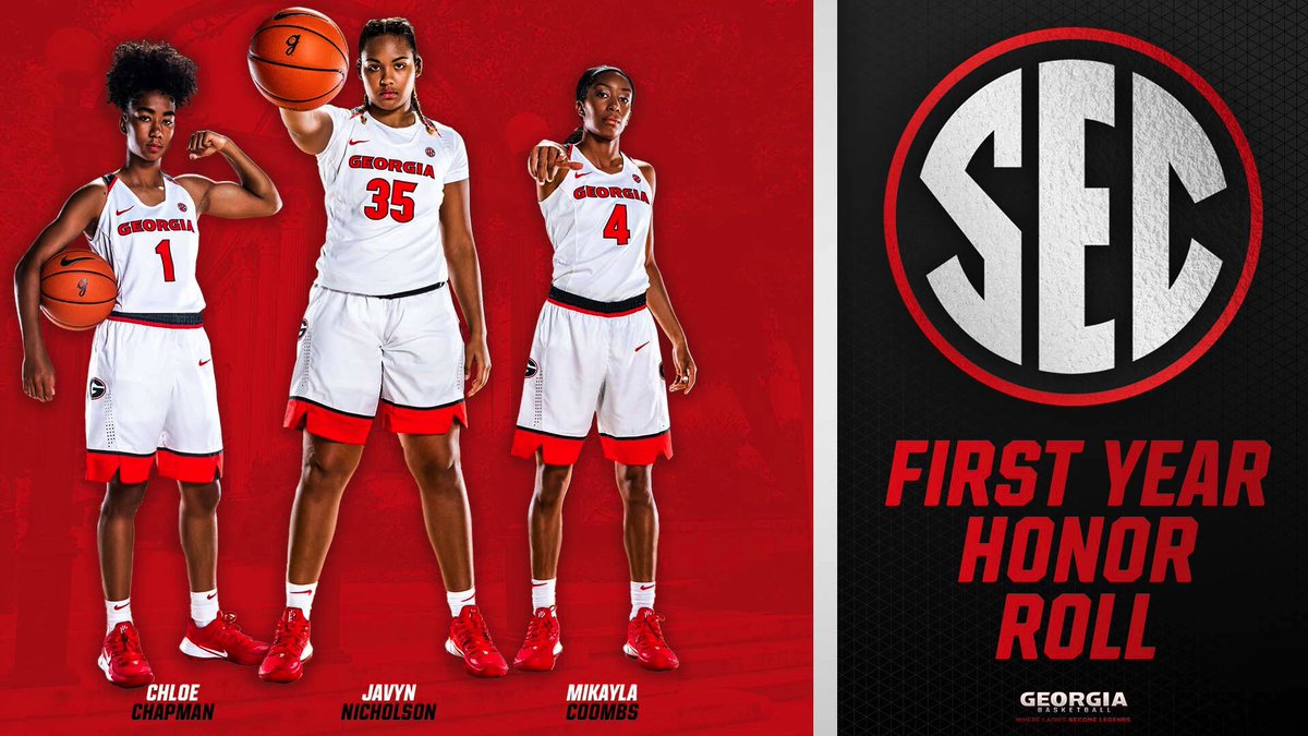 Congratulations Chloe, Javyn, and Mikayla on earning spots on the @SEC First Year Honor Roll! 🎓🏀  #GoDawgs https://t.co/5Sq6Q0yWud
