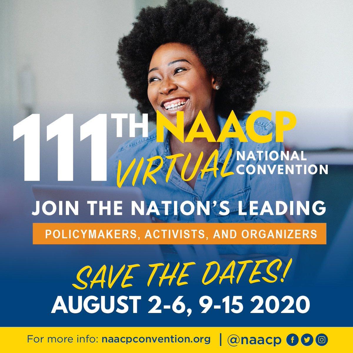 RT <a target='_blank' href='http://twitter.com/NAACP'>@NAACP</a>: SAVE THE DATE   The 2020 <a target='_blank' href='http://search.twitter.com/search?q=NAACPNationalConvention'><a target='_blank' href='https://twitter.com/hashtag/NAACPNationalConvention?src=hash'>#NAACPNationalConvention</a></a>  is almost here. <a target='_blank' href='https://t.co/EPcAi5jT1A'>https://t.co/EPcAi5jT1A</a>