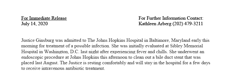 JUST IN: #SCOTUS Justice Ruth Bader Ginsburg hospitalized. https://t.co/6pZ5oShvyn