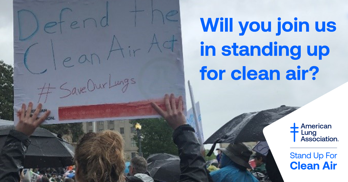 Visit https://t.co/1rdowtByfs to pledge that you'll Stand Up For Clean Air. We'll send you tips on steps you can take to make a difference, as well as opportunities to push our public policy leaders to safeguard our nation's air quality. https://t.co/JJG0YSr0FS