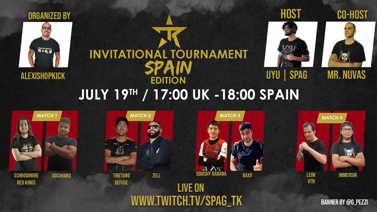 Get ready for amazing battles next to the best Host, T.O.  Commentator, CC: @SpaghettiRip 😎 Co-Hosting will be @MrNuvas and trust me you'll love him.  @Snchzt @el_propio_xoco @Tibetanotk @ZeLLWei @SquishyBananaTK @baxiitou @EspLeok @immersin_art  Channel: https://t.co/218UClsLSn https://t.co/NNrWYN7ara