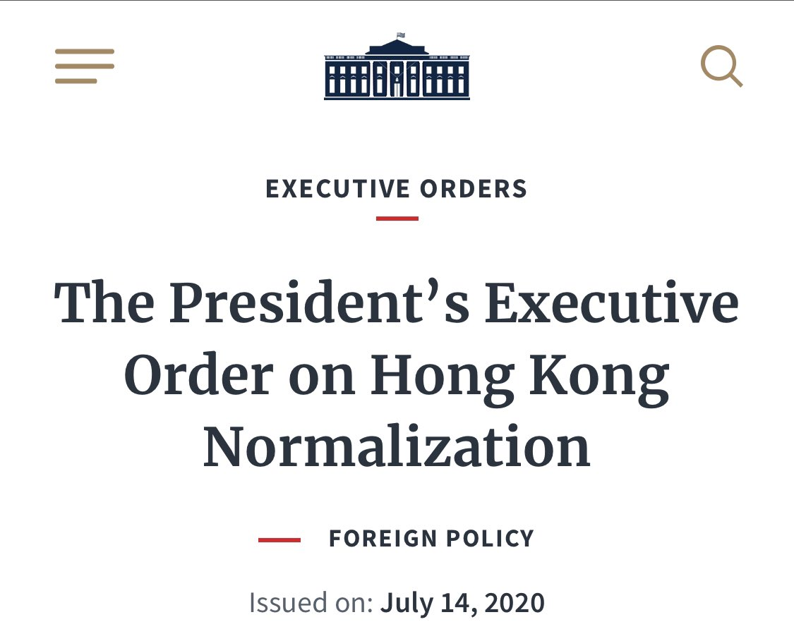 Just in: US President, Donald Trump, has issued a executive order to address the status of Hong Kong after Beijing inserted the new national security law in late June. #HongKongProtests https://t.co/x3wt1YunAb