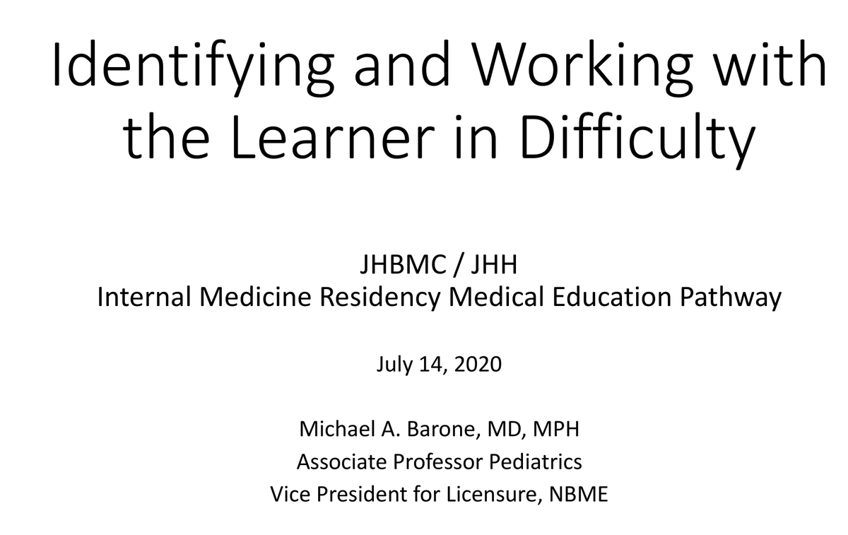 Thrilled to have Hopkins education legend and NBME VP @BaroneMichael teach @ORourkeJr, me, and our awesome Med Ed Pathway residents about identifying the learner in difficulty! Critical topic that all educators need #skills in! @nbme #MedEd @OslerResidency @BayviewMedicine
