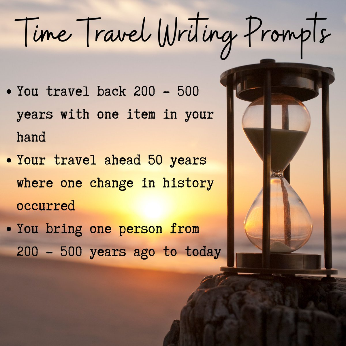 Looking for some fun #writingprompts to try? Give these #timetravel ones a whirl!  pic.twitter.com/ikORAXXl88
