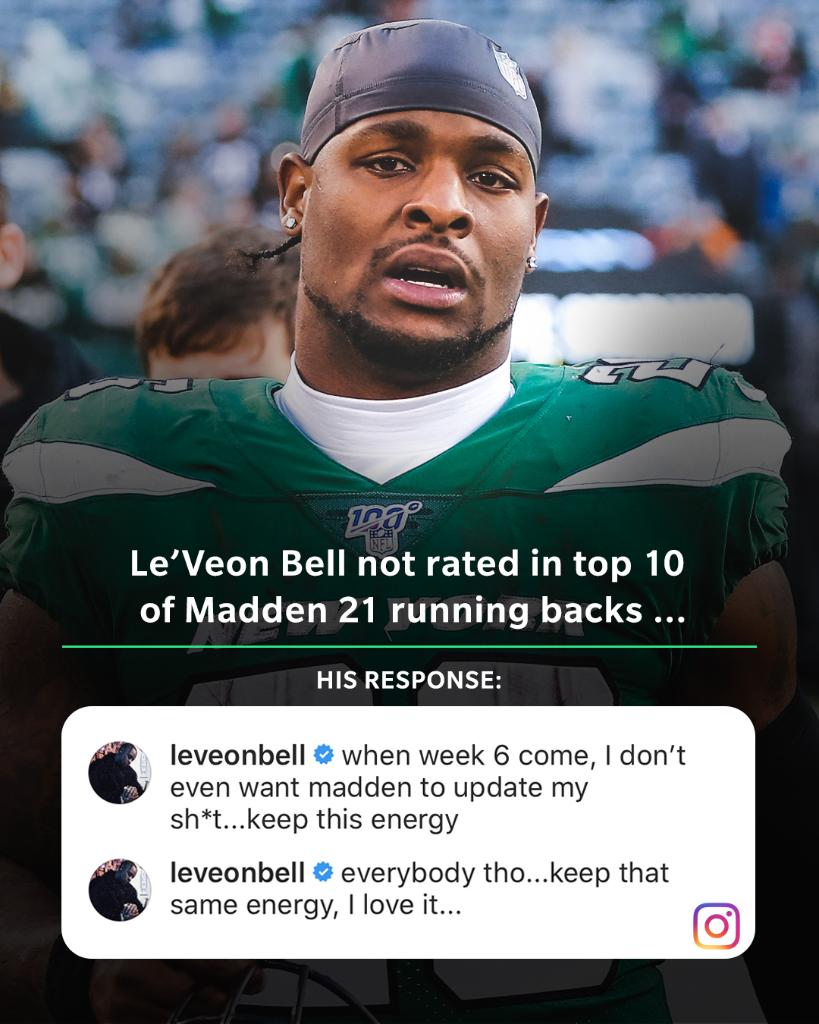 .@LeVeonBell's energy after seeing he's not among #Madden21's top 10 RBs 💯😤 @EAMaddenNFL https://t.co/hfvG5f2MJj