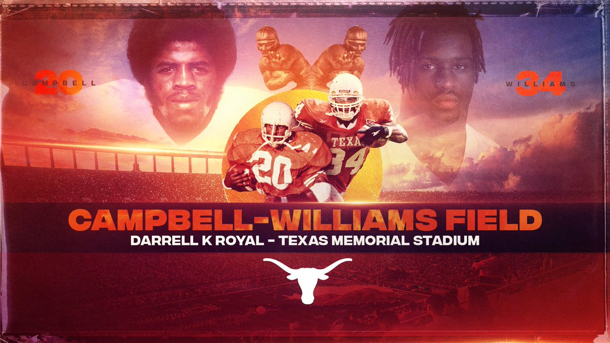 At the request of the Jamail family, Joe Jamail Field will now be named in honor of our Longhorn Legends and Heisman Trophy winners Earl Campbell & Ricky Williams. The official name is now Campbell-Williams Field.   #ThisIsTexas #HookEm <br>http://pic.twitter.com/2fWUttzb6w