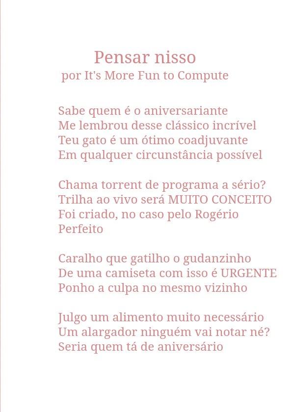 """Pensar nisso"" por It's More Fun to Compute. #poetweet https://t.co/FiXqs8XcqV"