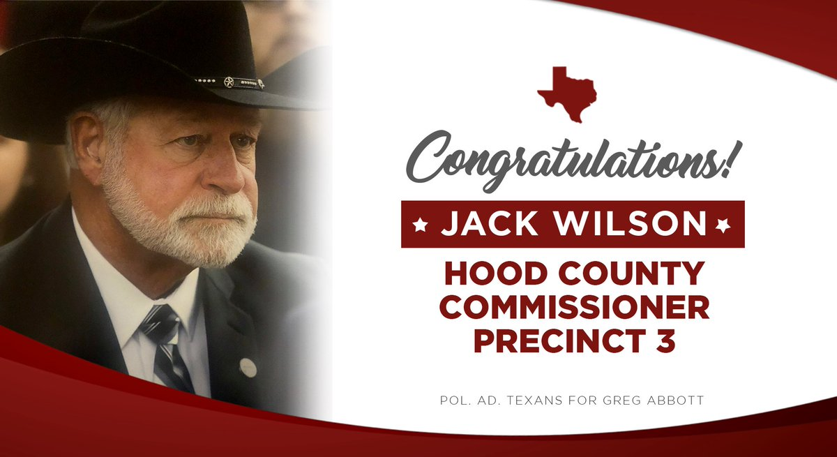 A Texas-sized congratulations to HERO Jack Wilson for winning the Primary Runoff Election for Hood County Commissioner. https://t.co/Yk0zNng9Su