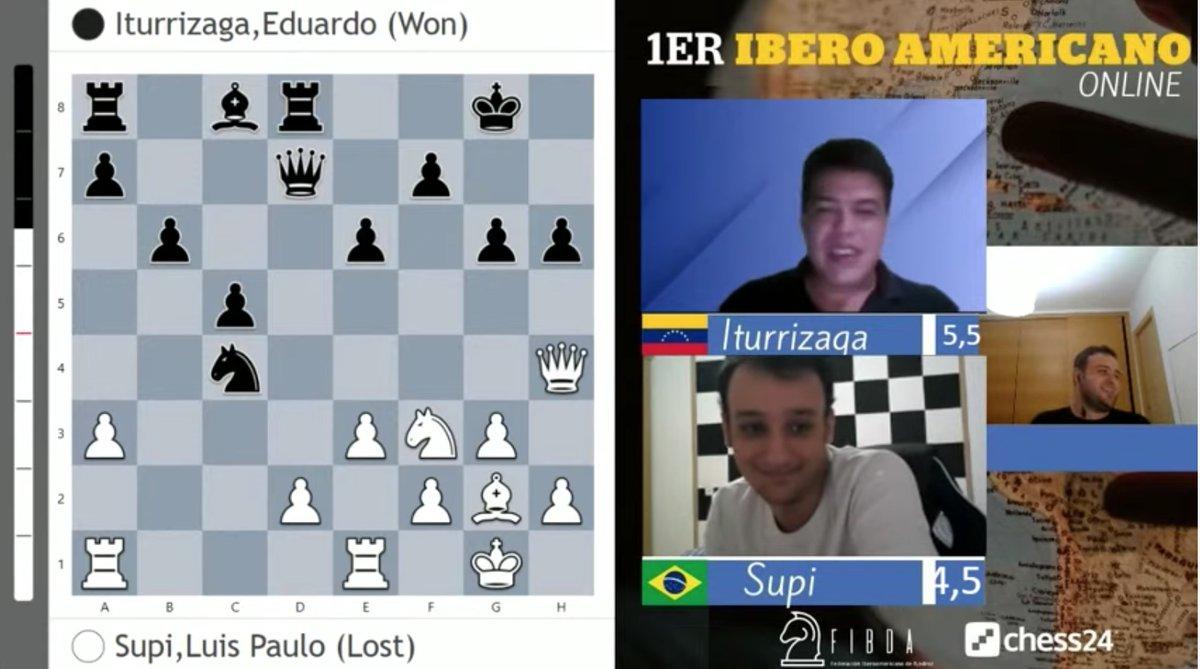 El GM de ajedrez venezolano Eduardo Iturrizaga @EduIturri gana el Primer Campeonato Iberoamericano de Ajedrez On Line (Modalidad Blitz 3 min) donde jugaron 64 de los mejores jugadores y jugadoras de España, Latinoamérica y el Caribe. Felicitaciones Campeón, Orgullo de 🇻🇪 twitter.com/EduIturri/stat…
