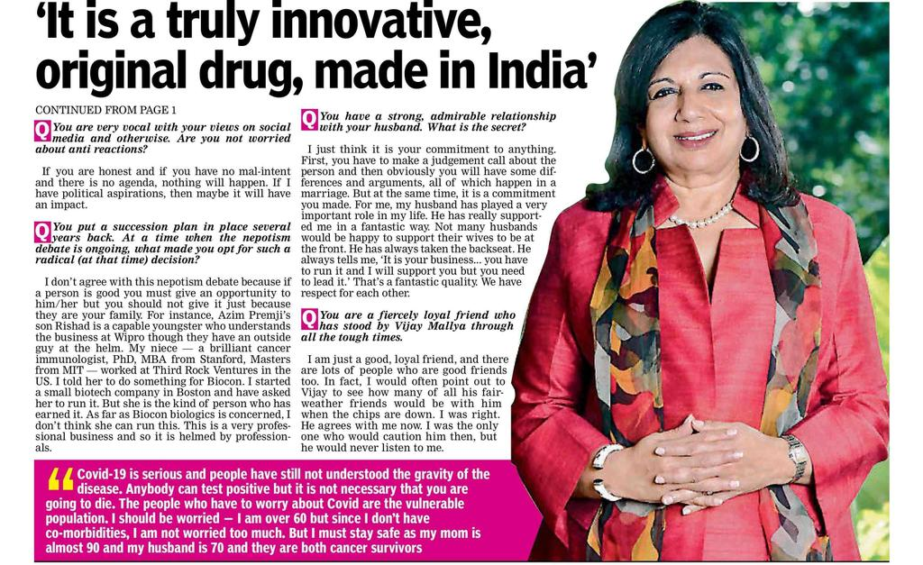 #Itolizumab is a truly  innovative, made in India drug, reports Deccan Chronicle  @Bioconlimited Date - 2020-07-15, Publication - Deccan Chronicle,  Edition - Hyderabad, Source - Nayear Ali, Page - 1, 2 https://t.co/VOR0D6ewEc