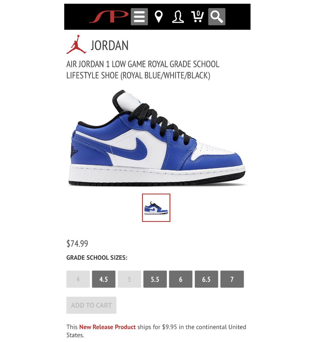 Snkr Twitr On Twitter Size Still Available Gs Jordan 1 Low Game Royal Https T Co Qvltghr6yo Ad