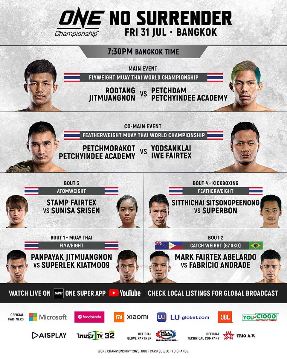 As it stands, ONE: No Surrender will feature six bouts.   #ONEChampionship  #NoSurrender   Read more here:  https://t.co/QQ4U3Jwhp9 https://t.co/jXQDzPDZBs