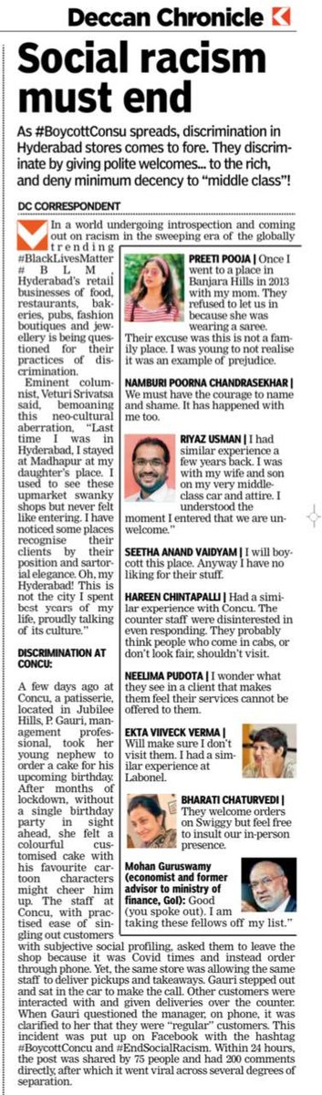 People of #Hyderabad facing #social #discrimination #class #racism from snooty condescending uppity retail establishment start to #SpeakOut #EndSocialRacism #BoycottConcu #Concu stop treating #MiddleClass #Customer badly. @DeccanChronicle #Cakes #Inhumanpic.twitter.com/zdffr86WM6
