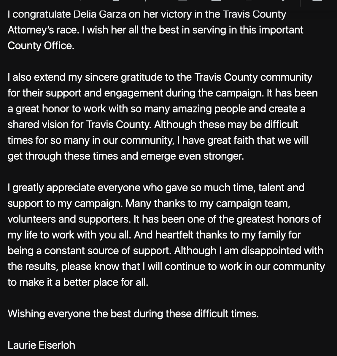 EISERLOH CONCEDES: Delia Garza will be Travis County's next County Attorney. https://t.co/Mnk3ygQrdw