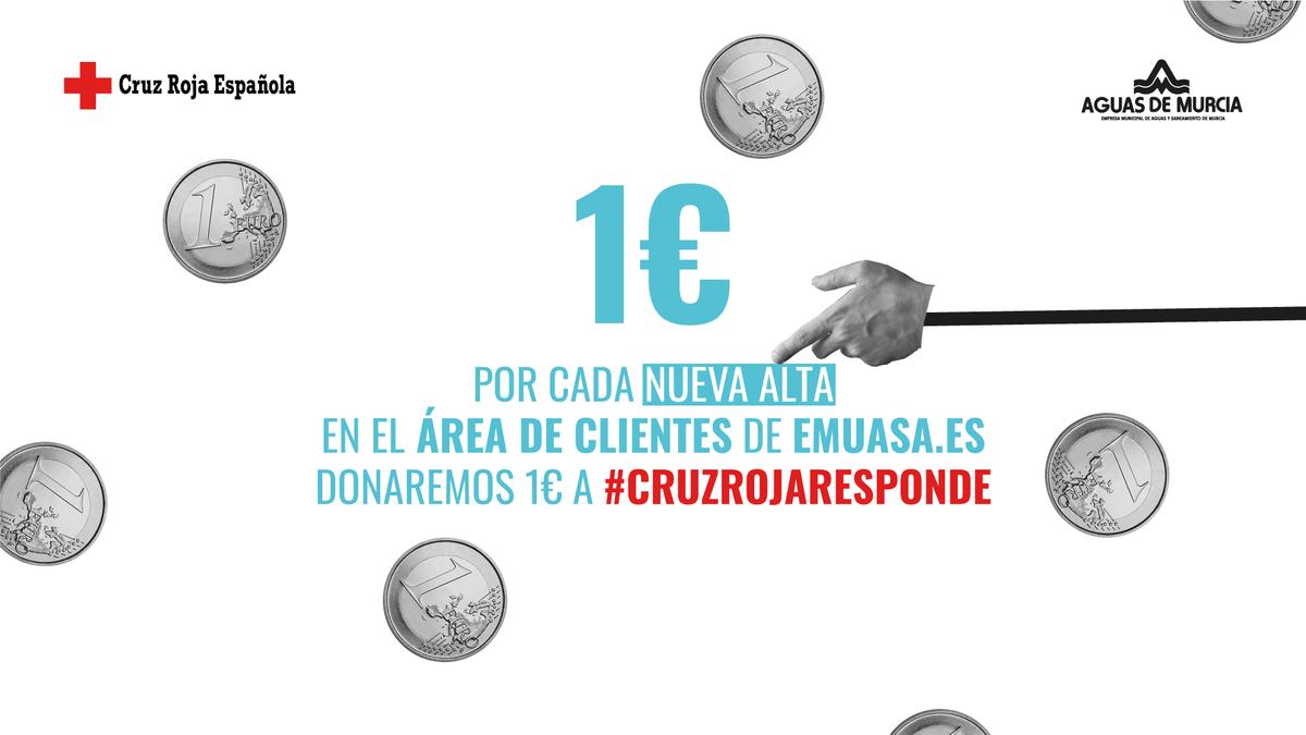¡Ayúdanos a ayudar a @CruzRojaMurcia!  Date de alta en nuestra Área de Clientes y donaremos 1€ a #CruzRojaResponde. ¿A qué esperas para hacer tus gestiones online? http://bit.ly/area-clientes-emuasa… pic.twitter.com/rvzuJx50wx