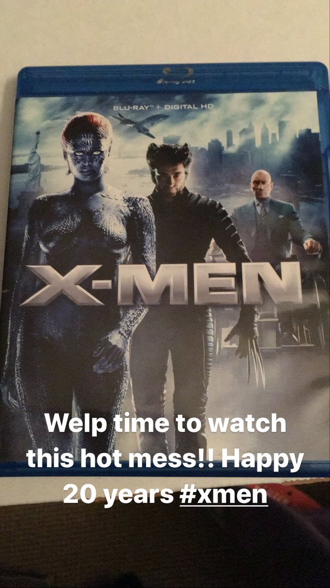 Welp here we go in honor of its 20th anniversary going to watch the first #XMen movie #XMen20thAnniversary https://t.co/PNdNGU1yF1