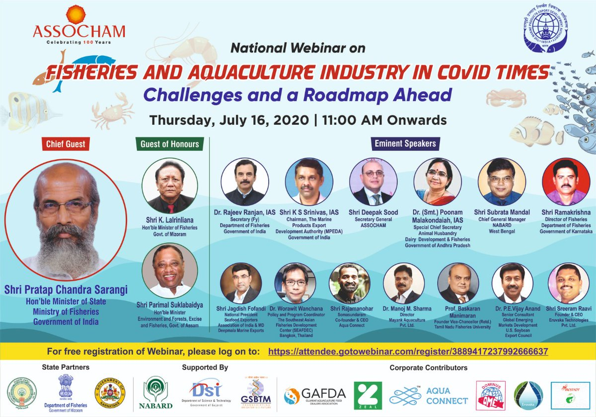 "#Aquaconnect CEO @rajamanohar is speaking on a national #Webinar organized by @ASSOCHAM4India on #FISHERIES & #AQUACULTURE Industry in #COVID times: Challenges & Roadmap Ahead"".  Click  to register: https://lnkd.in/eqt_8Y4  #coronapandemic #coronavirus #covid19 #shrimppic.twitter.com/eLAZQibz0O"