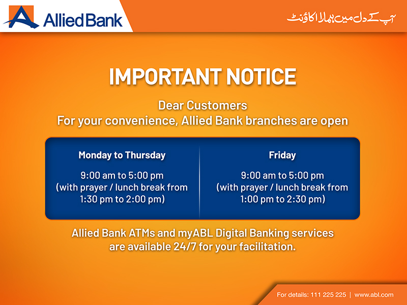 Important Notice: Allied Bank branch timings are revised. https://t.co/rrLh4RHFKZ
