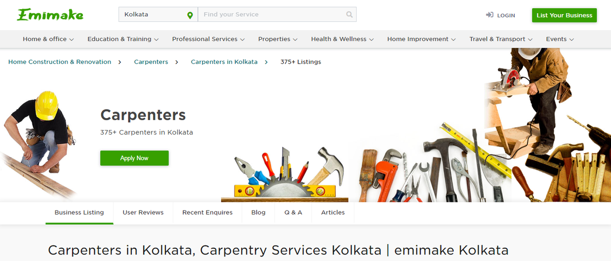 Carpenters in Kolkata, Carpentry Services Kolkata | emimake Kolkata Carpenters in Kolkata - Experienced carpenters and professional carpentry services, woodworking companies in Kolkata and get carpenter rates and get more.  https://www.emimake.com   https://www.emimake.com/carpenters-in-kolkata …pic.twitter.com/hcUE27u4RG