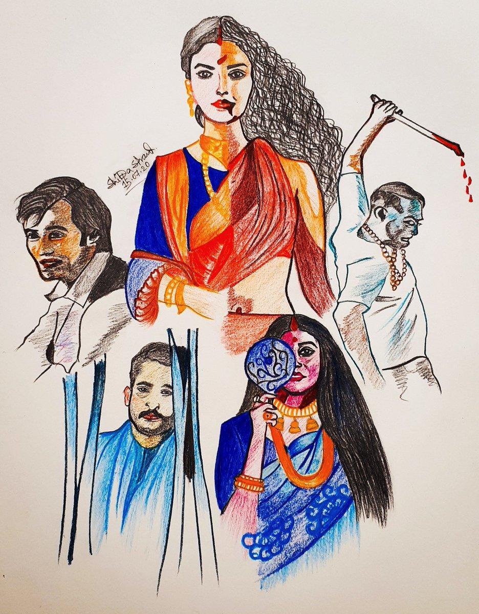 """She is not a Demon..She is Goddess"" #chudail_nehi_devi_hai_woh ❤ #BulbbulNetflix #bulbbulreview @NetflixIndia @paramspeak @tripti_dimri23  @RahulBose1 @paoli_d @avinashtiw85  @AnushkaSharma  Though it is not perfect sketching but I tried my best..❤"