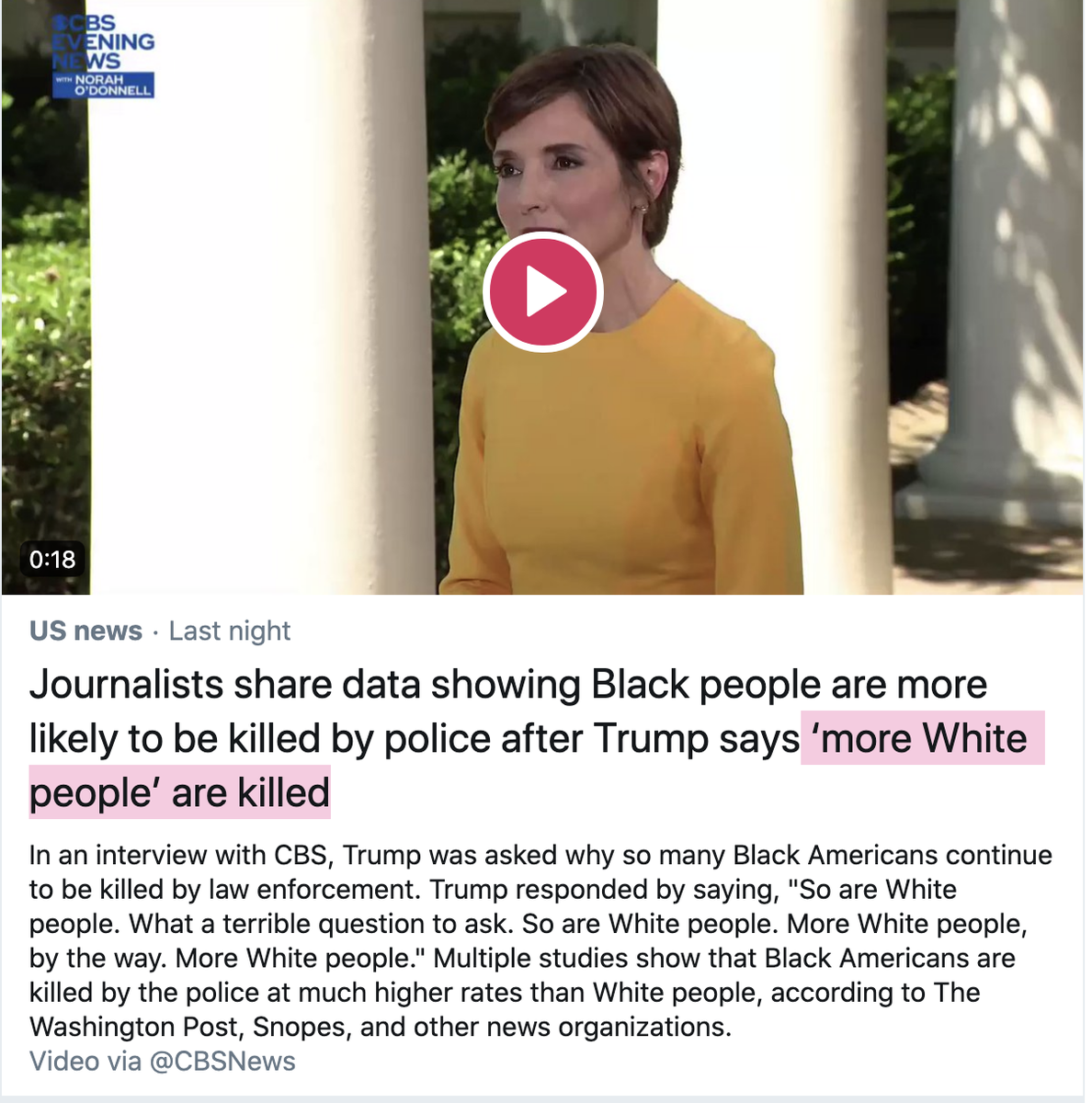 OMG, shut up Trump wasnt wrong, more whites are killed by police, but the media is also right in that black people are more likely when one takes into account population statistics. The media is taking a separate argument to oppose another, but really, both sides are right.