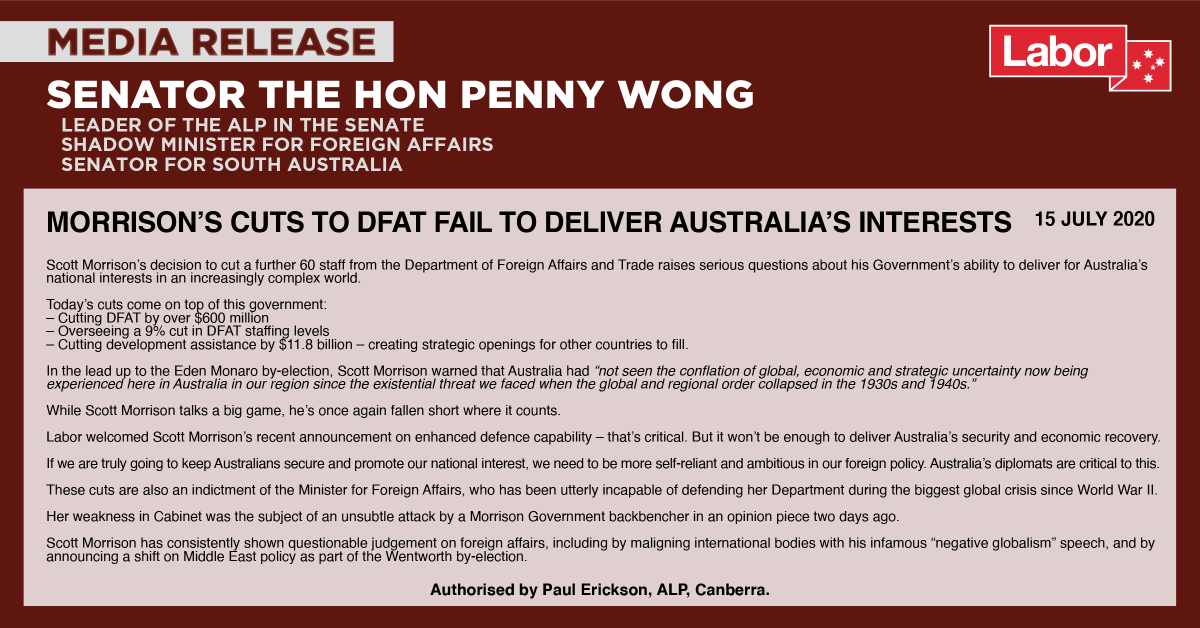 In the biggest global crisis since WWII, Scott Morrison cuts 60 more staff from the Department of Foreign Affairs. Delivering Australias interests and keeping Australians secure means being more self-reliant & ambitious in our foreign policy. Our diplomats are critical to this.