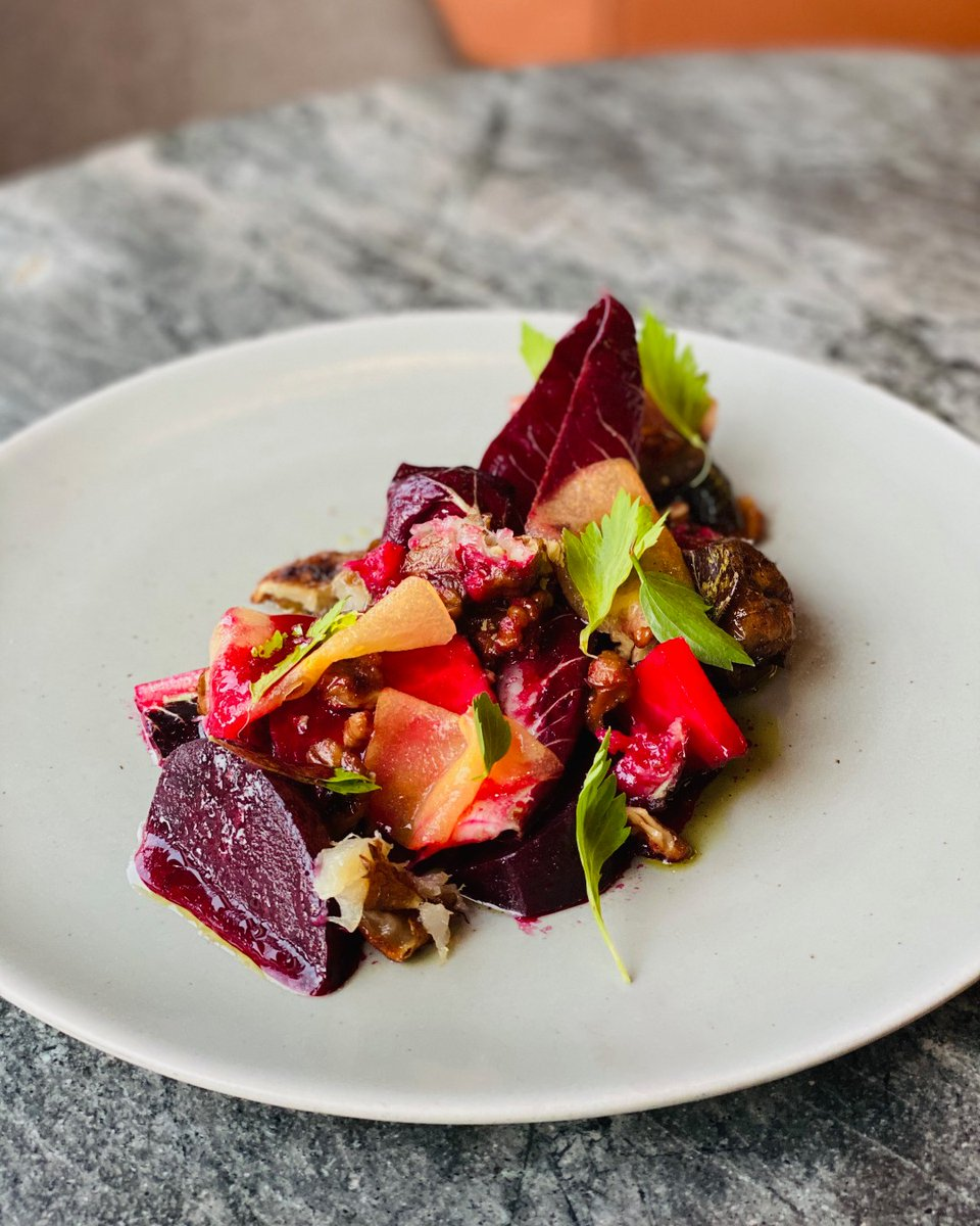 Tamarind dressed beetroot & jerusalem artichoke salad, served with chicory, candied walnut & persimmon. Have we got your attention yet?   #craggyrange #nzfood #hawkesbay #nzwine https://t.co/64CWY8nPZv