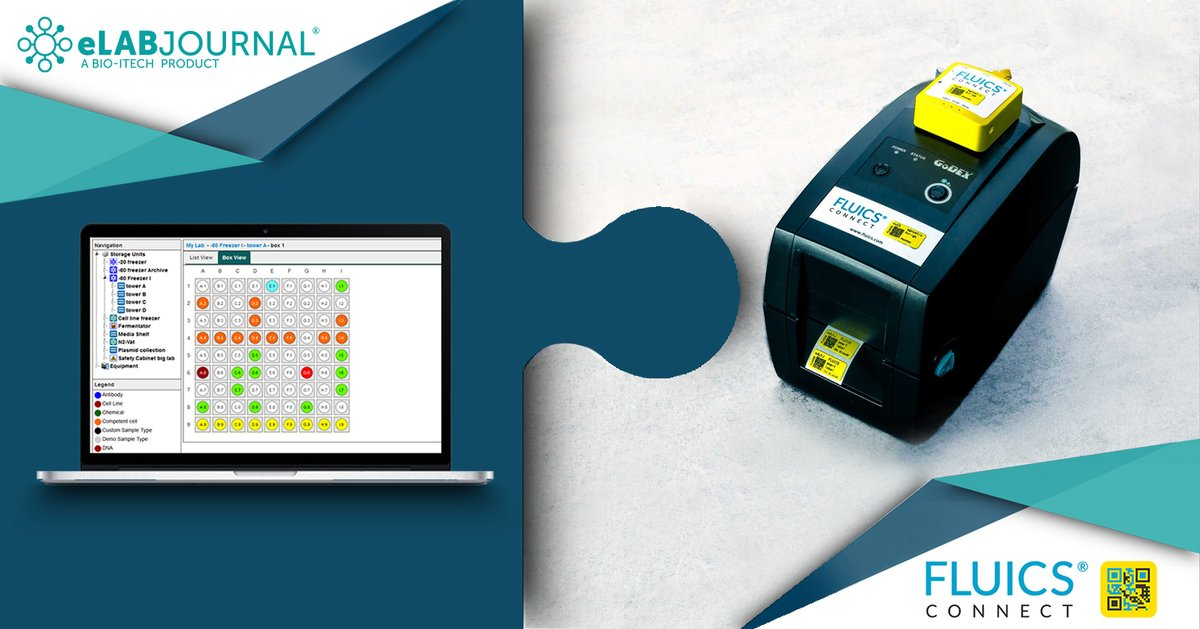 Do you want to print your sample labels directly from your ELN?  Find out more about FLUICS CONNECT package for #eLABJournal. Hassle-free solution to print labels directly from the sample database in your #ELN.  Learn more: https://t.co/Ynz1tHAkPb https://t.co/aUpVZ23VHN