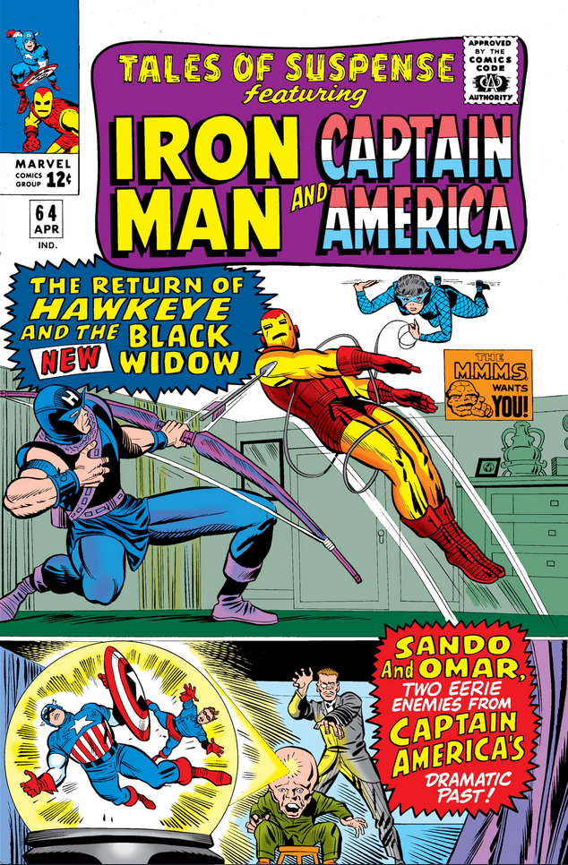 """Tales of Suspense #64, 1965. #MarvelADay #TOS64 """"Hawkeye and the New Black Widow Strike Again!""""  Writer: Stan Lee Penciler: Don Heck Inker: Chic Stone  """"Among Us, Wreckers Dwell!"""" Writer: Stan Lee Penciler: Jack Kirby Inker: Frank Ray  Cover: Kirby/Stone https://t.co/b6tVhmg59f"""