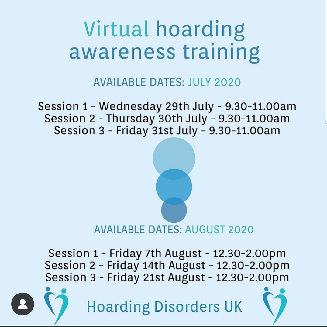 Great News!   UK's leading company Hoarding Disorders UK will be offering a series of online Hoarding Awareness training to professionals and individuals in July and August 2020 if you are interested contact them on   Tel: 0330 133 2310 or info@hoardingdisordersuk.org pic.twitter.com/b3JPjgDC6l