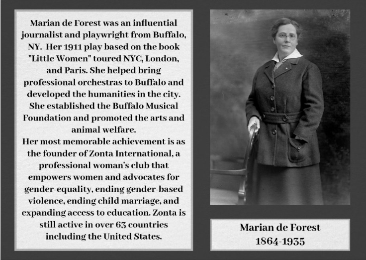 #MarianDeForest was a journalist & playwright from #Buffalo She is the founder of #Zonta, an international women's club fighting for #genderequality https://suffragettecity100.com/wcw75 #suffragettecity100 @ZontaIntl #zontainternational #womensrights #womenvote #ERA #womenvote #votesforwomenpic.twitter.com/JAcPXCctUb
